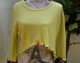 Restructured Lime Green Sweater Top Layering Recycled Upcycled Size Medium