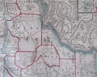 1891 Map- Idaho/Montana/Washington, 3 Sided Atlas Page 21 x 14.5 in Great for Framing