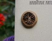 4 Wood Tree Buttons- Oregon Myrtlewood- Wooden Buttons- Eco Craft Supplies, Eco Knitting Supplies, Eco Sewing Supplies