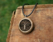 Wooden Tree Pendant - Sustainable Wood Jewelry- Oregon Myrtlewood Tree Earrings- Natural Wood Jewelry- Eco Earrings