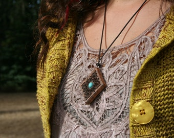 Wood & Turquoise Pendant-Diamond Shape Pendant-Sustainable Wood Jewelry- Oregon Myrtlewood Tree Pendant- Natural Wood Jewelry-