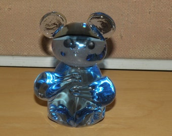 Vtg Blue Glass Bear Figurine or Paper Weight