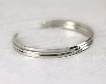 3 Square Cuff Bracelets in Sterling Silver, Simple Cuff Bangles, Custom Sized