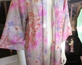 1930s Rayon Japanese Floral Print Robe Boudoir Wrap Gorgeous Colors 42 Bust