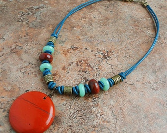 Handmade Tribal Style Necklace, Red Jasper Green Aventurine Stone, Blue Leather Cord, Antiqued Brass, Exotic
