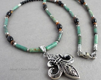 Mens Green Gemstone Necklace 24in, Fleur De Lis Stainless Steel Pendant, African Jade, Black Onyx, Tiger Eye, Handmade