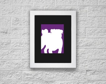 Modern Pug Silhouette Art Print, Printable Art, Instant Download, Dog Art Print