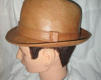 DOBBS  Leather Fedora Mens Vintage  60's Fedora Hat Clean Tan Leather