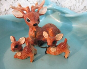 Deer:  Three 3 Deer Figurines -Family on Chain's - Dad- Buck &  Two Baby Fawns  On Chains Figurine's Vintage Ceramic Figurines