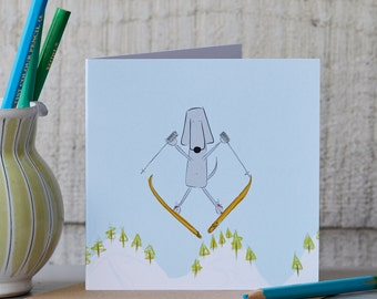 Ski Greeting Card - Skiing Card - Skier Gift - Downhill Skiing - Blank Card - Blank Art Card - Funny Card -  Funny Card For A Friend - Snow