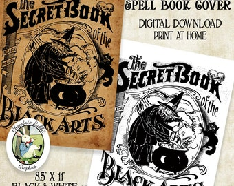 Witch Spell Book Cover Halloween Book of Shadows Digital Download Printable Image DIY Clip Art Scrapbook Collage Sheet Graphic Art Print