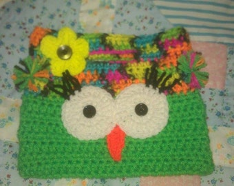 Handmade Crochet Owl Purse Green and Blacklight Color