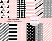 Geometric Digital Paper - Pink, Gray and Black Geometric Digital Paper Pack, Instant Dwonload