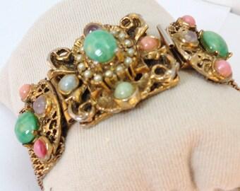 50s Goldtone Mesh Bracelet Green, Pink Lucite beads