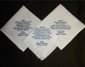 Wedding handkerchiefs - FREE SHIPPING - each under 40 words -Mix and match - machine embroidered -  save the date