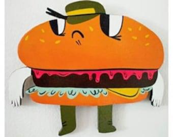 Burgerdier General (Food Fighters) wood cut painting