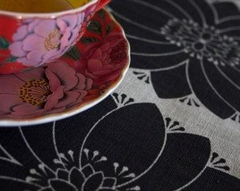Dahlia Black on Flax Linen Tea Towel