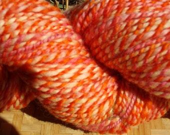 Handspun Falkand Wool Yarn 220 yards Sunny Orange