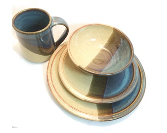 Ceramic Dinnerware set- Cream Blue two toned ceramic stoneware dinnerware - handmade pottery dinner plate ceramic stoneware dinnerware
