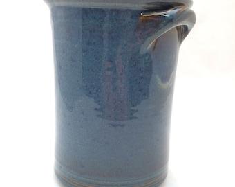 Twilight Blue Kitchen Spoon Jar with Handles -- Large Handmade Ceramic Jar container