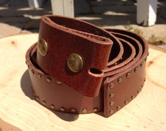 Brown Leather Brass Studded Belt Strap