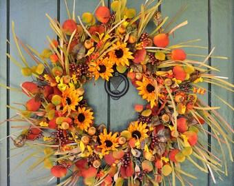 Sunflower Wreath, Fall Wreath, Mini Sunflower, Pod and  Grass Wreath, Autumn Wreath, Fall, Sunflower, Harvest Party, Front Door Wreath