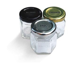 Single Large DIY Empty Hexagon Magnetic Spice Jars, Unlabeled Lids.