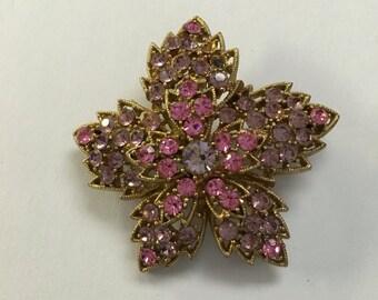 Vintage Anethyst & Pink Rhinestone Flower Pin