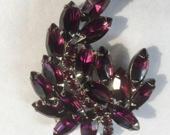 Vintage Amethyst Rhinestone Floral Brooch Pin