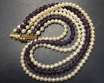 Vintage Pearl & Amethyst Bead 3 Strand Necklace