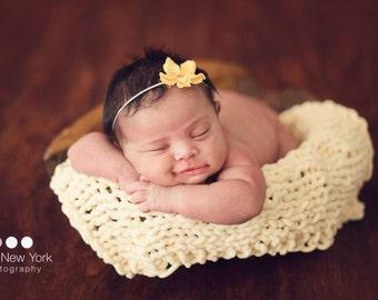 Mat Photo Prop Newborn Blanket Hand Knit Chenille Organic Layer Basket Stuffer Baby Photography Background Tieback Set Infant Wrap Headband