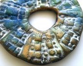 Rustic Donut Washer Connector Bead in Blue and Green with Bronze Accents