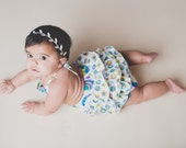 Baby Girl Romper with Girly Ruffles, white with blue peacocks, sizes NB to 24 months, by SunLoveShirts