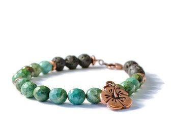 Aromatherapy Essential Oil Diffuser Bracelet, Lava Stones & Green Turquoise