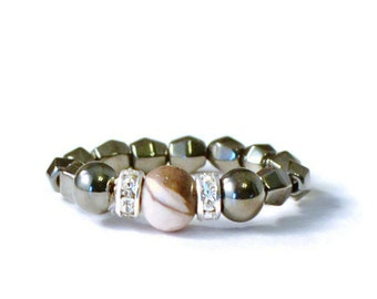 Zebra Jasper Magnetic Bead Ring