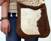 READY to SHIP - USHA - Leather Bag - Hair on Hide - Leather Hobo Bag - Cow Hair Leather Crossbody Bag - Boho Chic - Boho Bag - Womens Purse