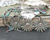 aster necklace tangles winter assemblage flower layer multi chain upcycle jewelry cottage chic