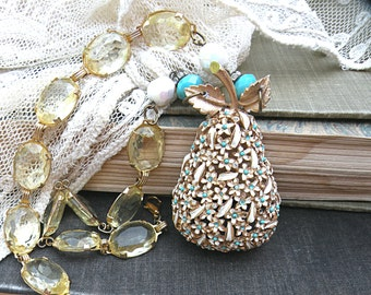 pear assemblage necklace eco friendly fruit upcycle pin