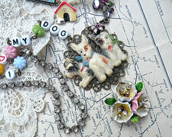 scotty dog necklace assemblage upcycle enamel flower