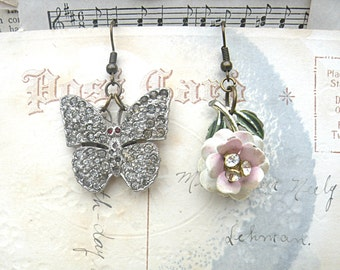 mismatch assemblage earrings flower butterfly upcycled jewelry pink floral cottage chic