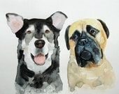 CUSTOM of your favorite couple OF PETS Original watercolor painting  11x14inch