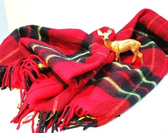 Vintage Plaid Stadium Blanket, Red Blue w/ Fringe, Fall Football Game Picnic College Tailgate Lap Robe Car Blanket Classic Warmth Wool Blend