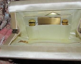 Vintage Midcentury BOBBIE JEROME Silk Purse With Compact,Mirror,Perfume,Lipstick,Comb
