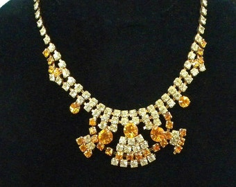 Vintage Necklace, Amber Rhinestone Necklace, Formal Necklace, Dressy Necklace, Wedding Jewelry, Fashion Jewelry, Costume Jewelry