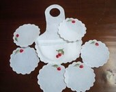 Vintage Home Drinkware Cloth Coasters Wine Bottle Case Cherry Coasters