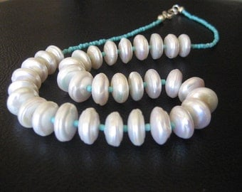 50% OFF -  Lustrous Button Pearl Necklace