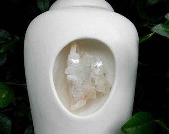 Half Size White Urn with Peach and White Natural Crystals