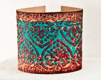 Stylish Turquoise Bracelet Southwest Jewelry - Hand Painted Cuff Bracelet Wristband - Bohemian Gypsy Hippie Chic