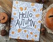 Hello Autumn, Happy Fall, Seasonal Decor, Give Thanks, Illustration, Thanksgiving, Autumn Leaves, Fall Decoration, acorns, Art Print