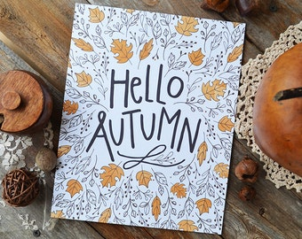 Hello Autumn, Happy Fall, Seasonal Decor, Give Thanks, Illustration, Thanksgiving, Autumn Leaves, Fall Decoration, acorns, Art Print